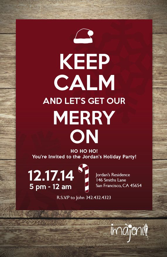 Red Keep Calm Christmas Invitation, Adult Party Invitations ...