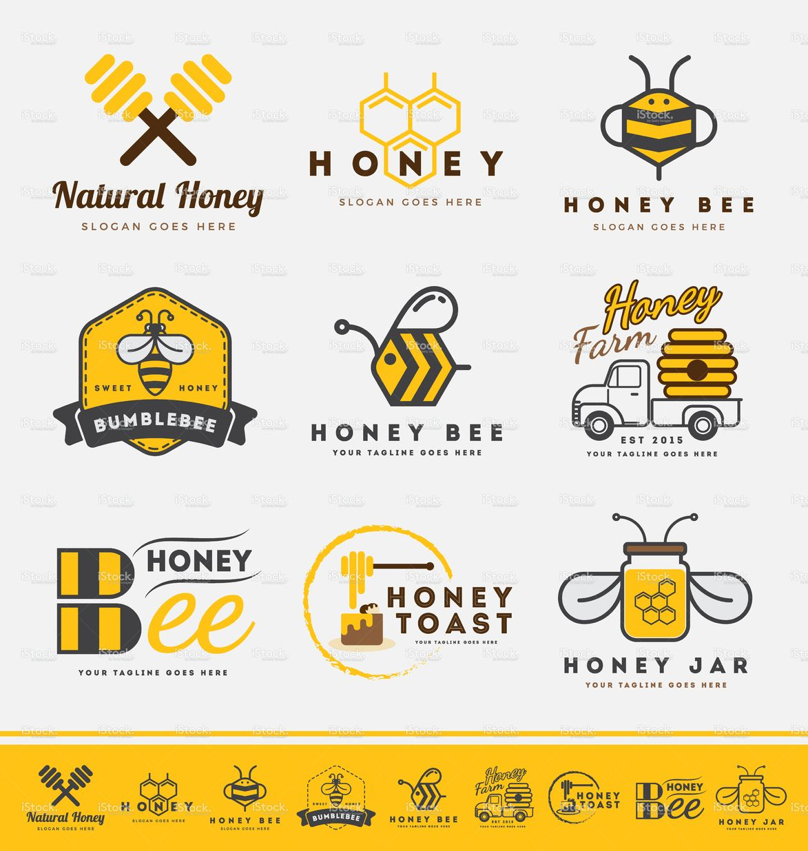 honey bee logo and labels for honey products flat design
