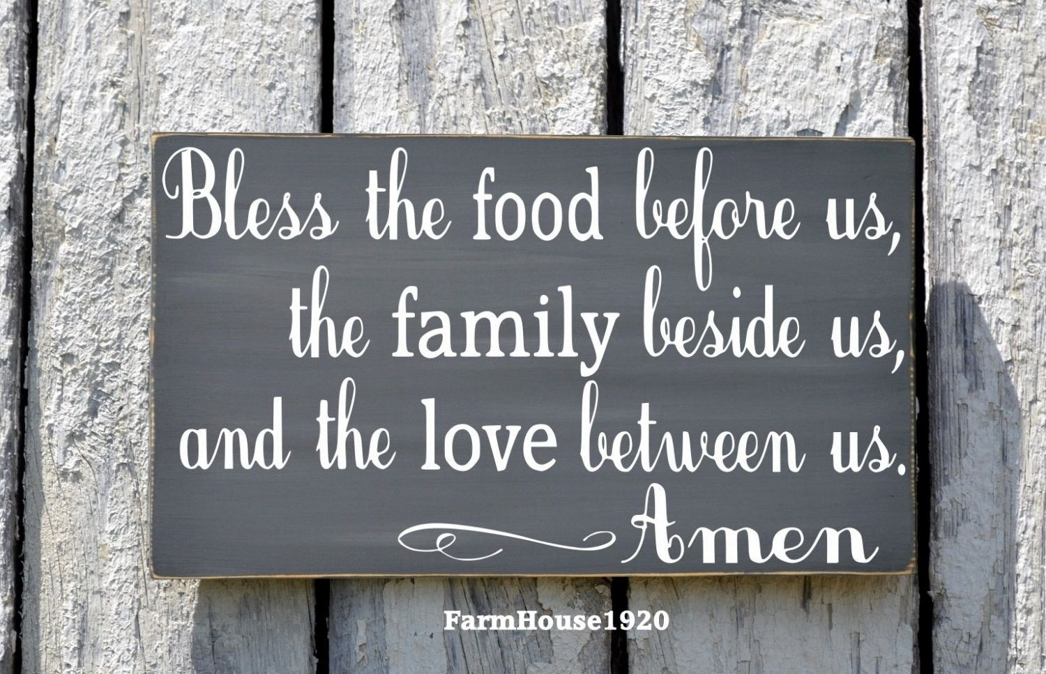 Bless the food before us sign gray kitchen wall art dining room