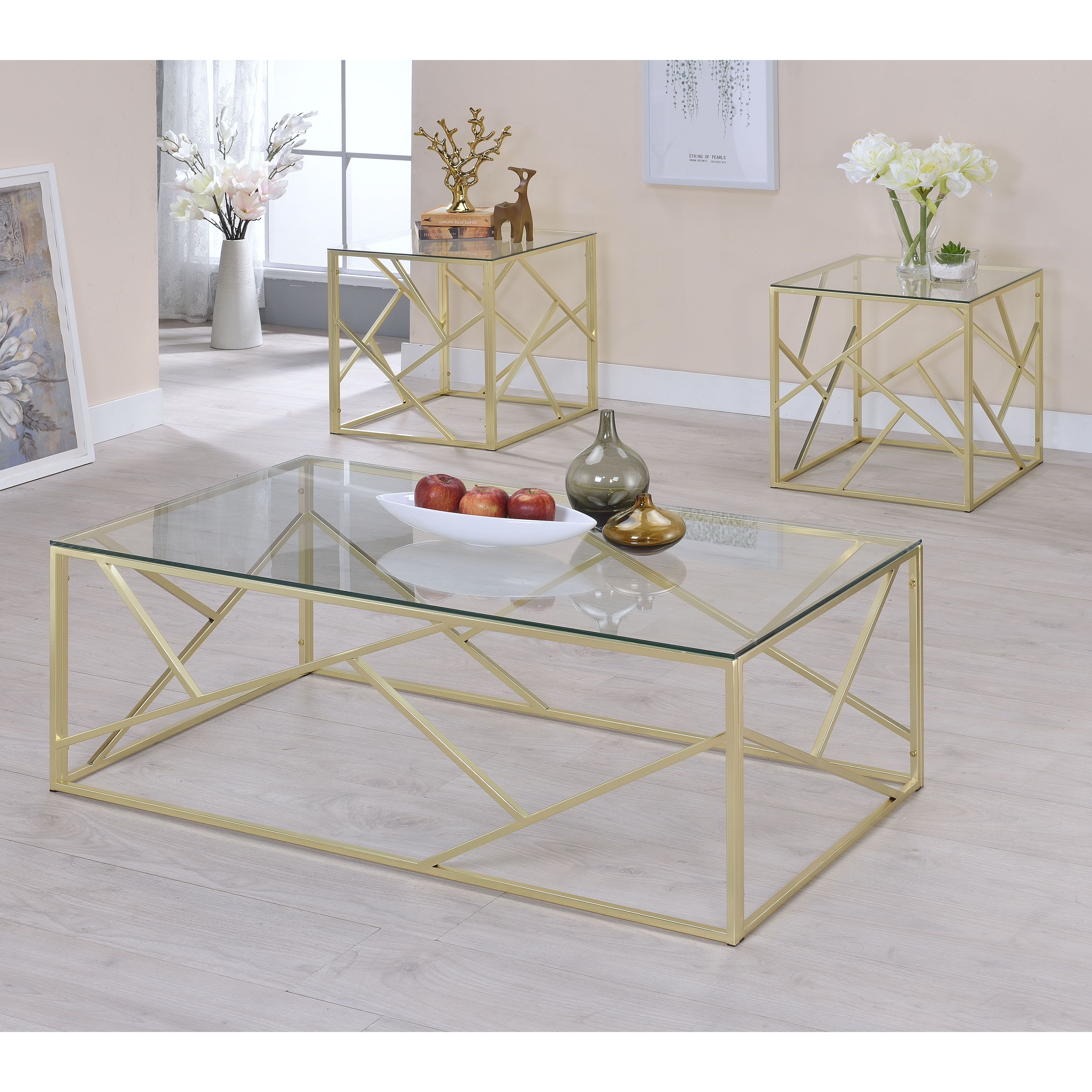 Modern glass end table  Furniture of America Enderin Contemporary MetalTempered Glass