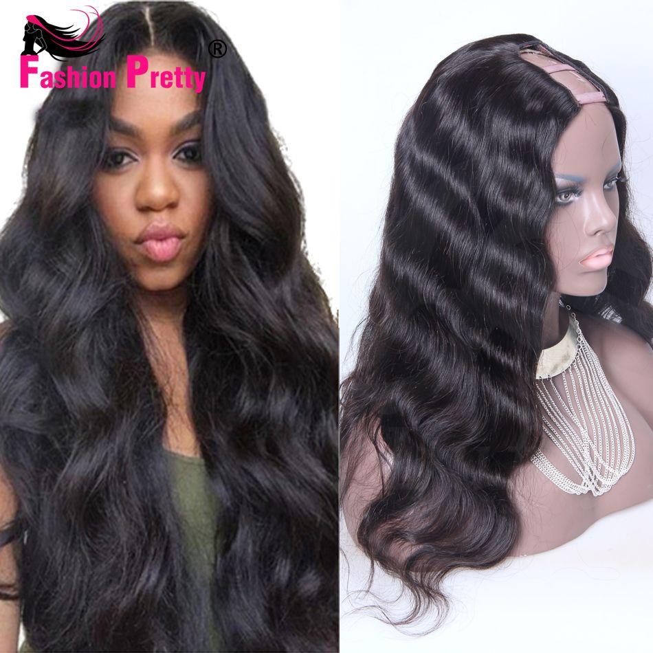 virgin peruvian u part wigs loose wave middle part u part human