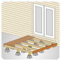 Deck block system for floating decks  They are sold at Lowes  | For