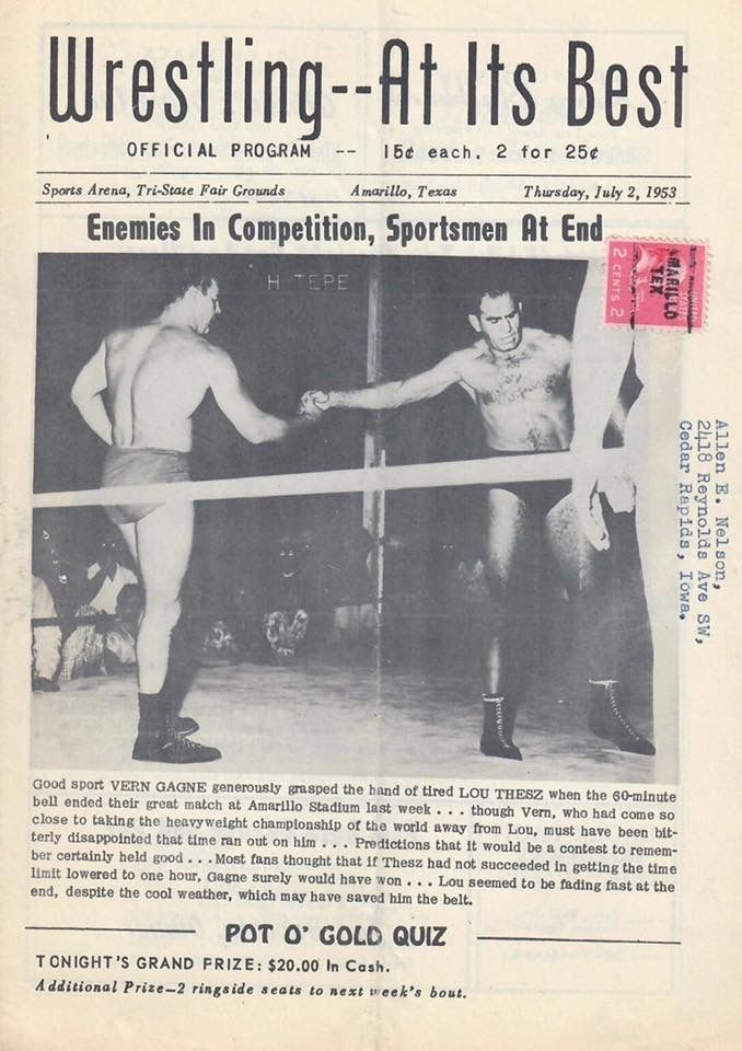 Lou Thesz Vs Verne Gagne In 1953 Amarillotx Classic