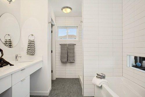 4x12 Stacked Wall Tile With Dark Grey Floor Tiles Bathroom
