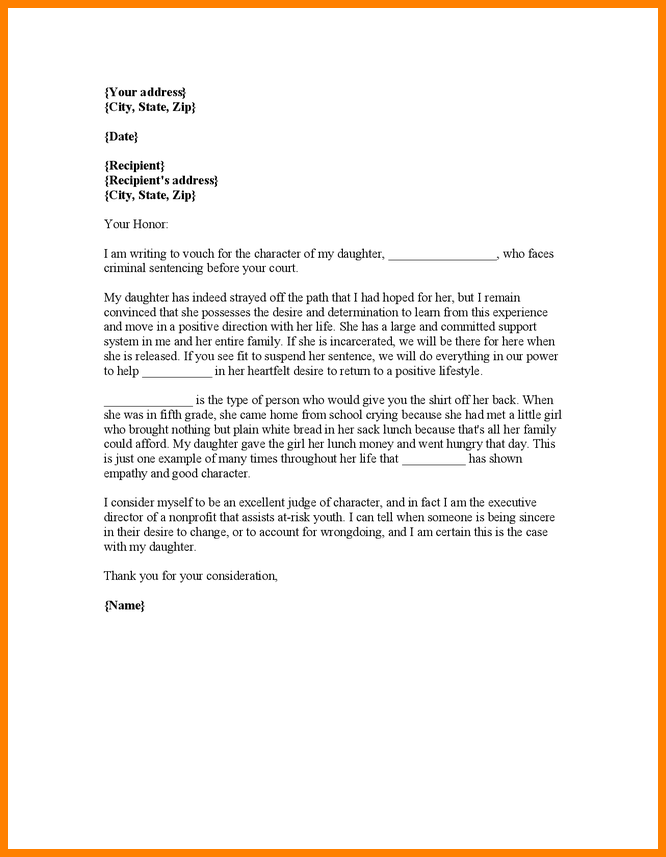 11+ Character Reference Letter For Court Samples | Job Bid Template ...