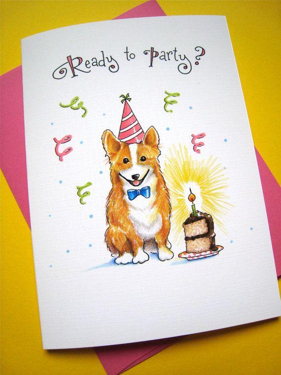 Corgi Birthday Card Dog Cards Welsh Corgi By Pattiejansen 4 50 Dog Birthday Card Dog Cards Birthday Cards