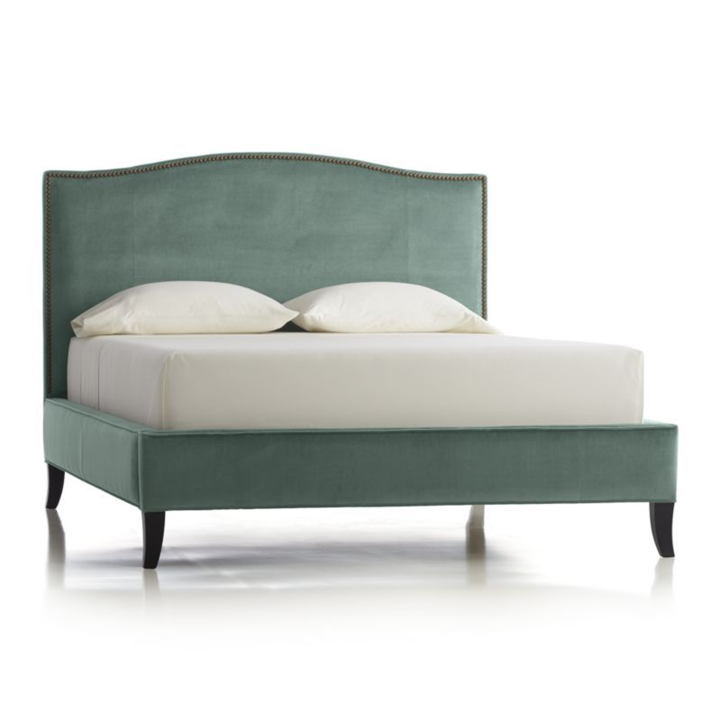 tate tall upholstered queen bed | velvet bed, crates and barrels