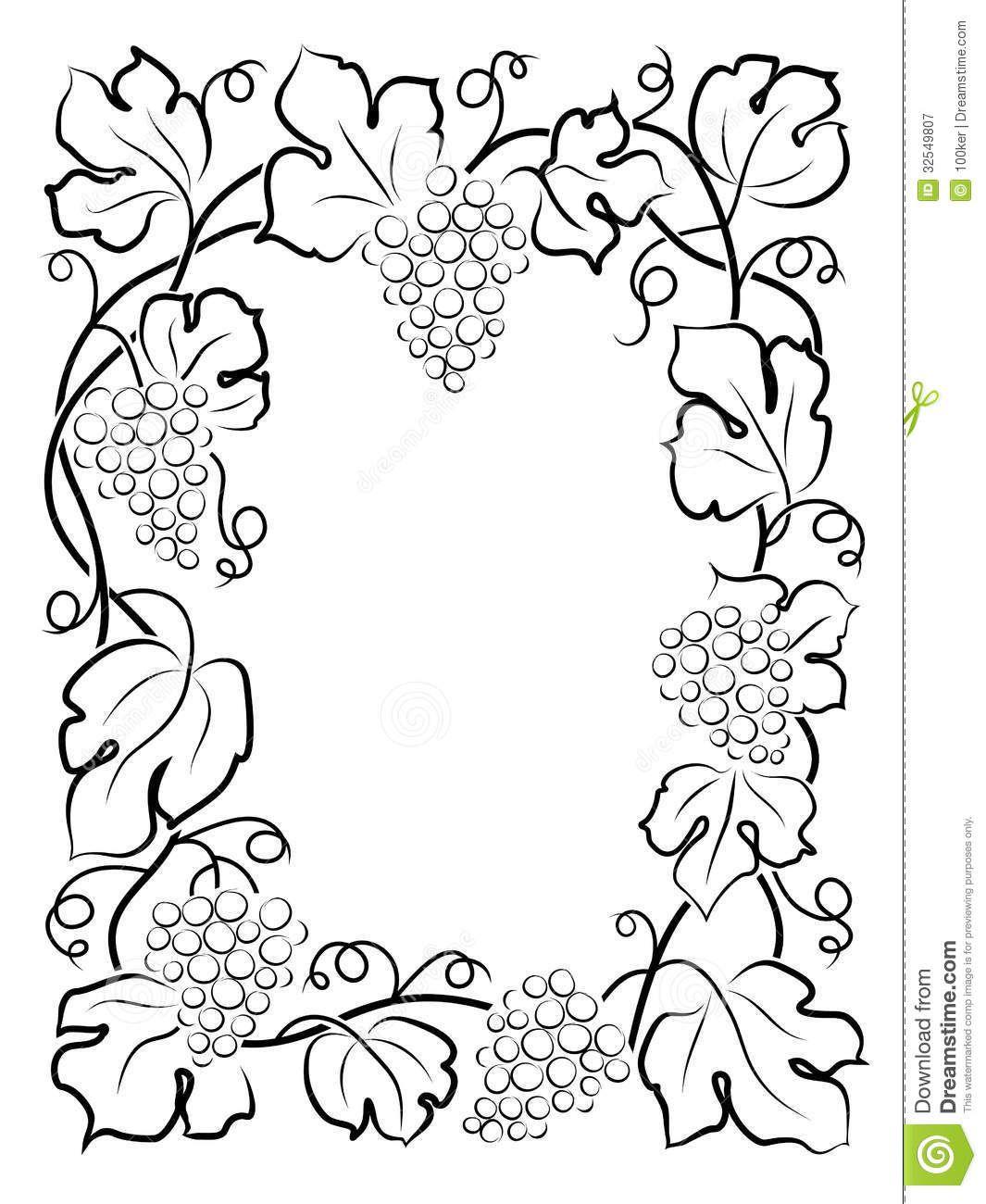 Herbst Ausmalbilder : Vine Grapes Borders Frames Pinterest Ausmalbilder Herbst