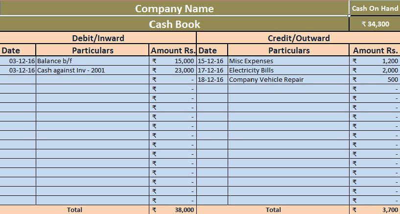 Download Cash Book Excel Template | ORGANIZATION | Invoice template