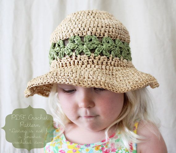651a0251b1f01 Crochet Pattern: The Lainey Sun Hat-4 Sizes Included Toddler, Child, Adult,  Adult Large-summer, daisy, straw, raffia on Etsy, $4.00
