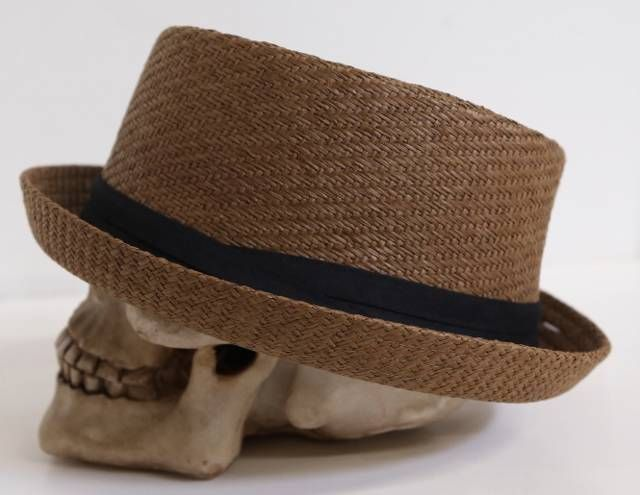 FD123 Mens Cuban Upturn Round Brown Pork Pie Straw Hat Short Brim Fedora  S M in Clothing dd271f291ea