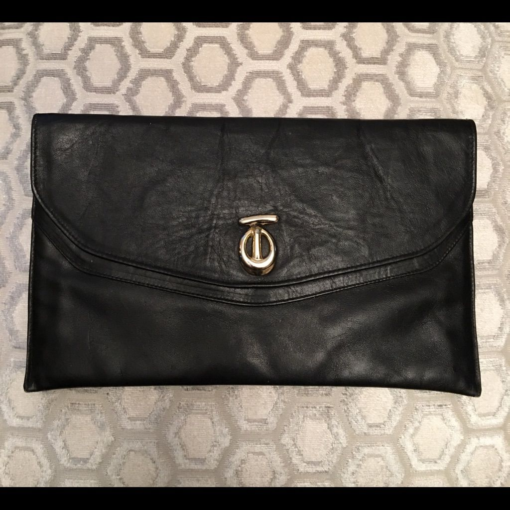 Selling this 🛍 Teek Orr Vintage Black Leather Clutch Bag in my Poshmark  closet! My username is  saccardi. Find this Pin and ... 9af617ce30