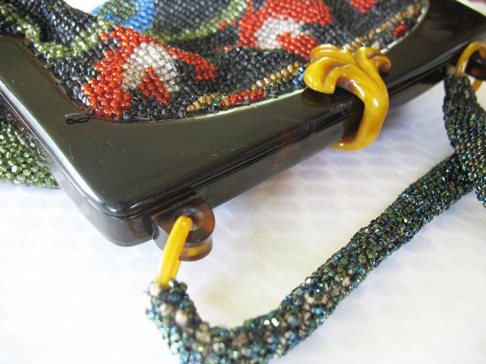 Antique Glass Beaded Purse Handbag Butterfly Design Celluloid Structure & Latch 1920 Art Deco.
