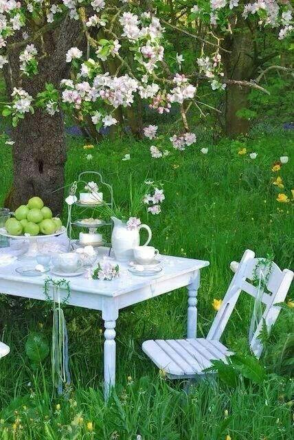 Petit Dejeuner De Printemps Beaux Jardins Jardin Romantique