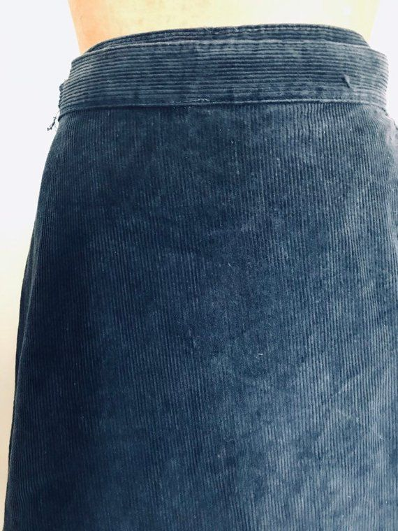 71d919d8c WRAP SKIRT Navy Blue Corduroy Destination I A-Line Knee Length Size Medium  Small Vintage Cotton Skir