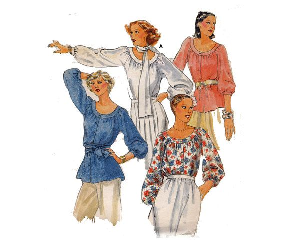 Blouse Sewing Pattern Oval Neckline Long or Three Quarter Sleeves ...