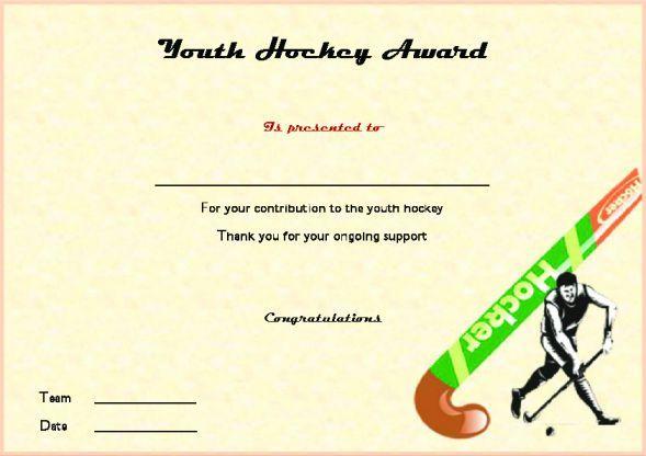 Youth Hockey Award Hockey Certificate Templates Pinterest