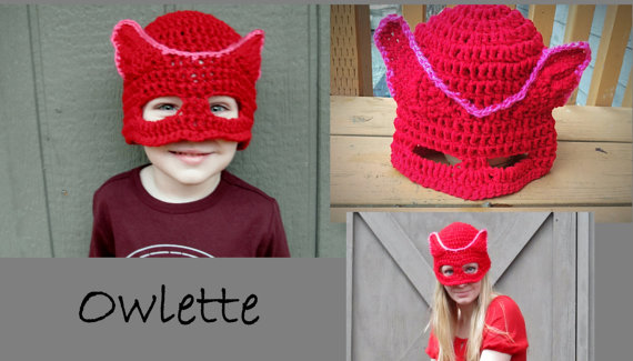 PJ Masks Crocheted Hat  Beanie - Catboy - Gekko - Owlette  961ac8a80ba