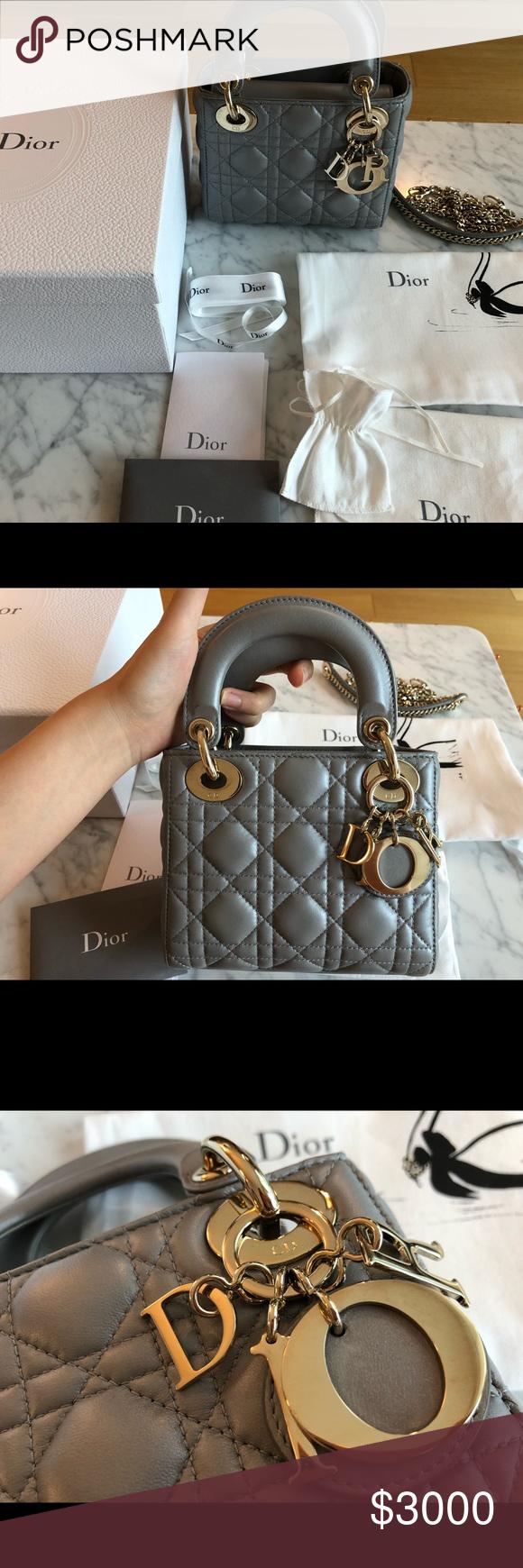 e6678ad7b07ba Dior Lady Bag Mini, Christian Dior Lady Pearl Gray Dior Lady Bag Mini,  Christian