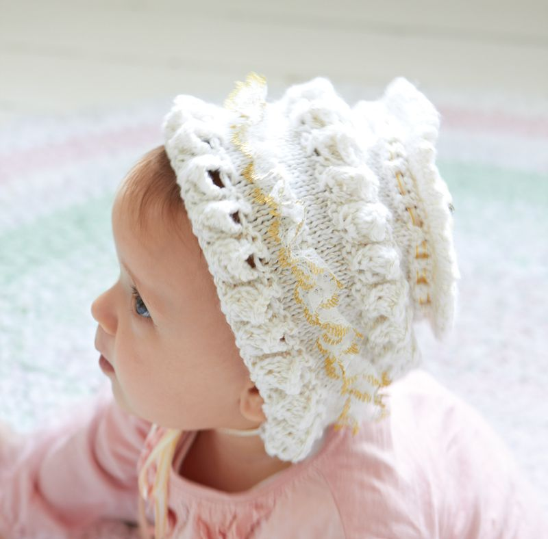 How to Make a Frilly Baby Bonnet / free knitting pattern | Knitting ...