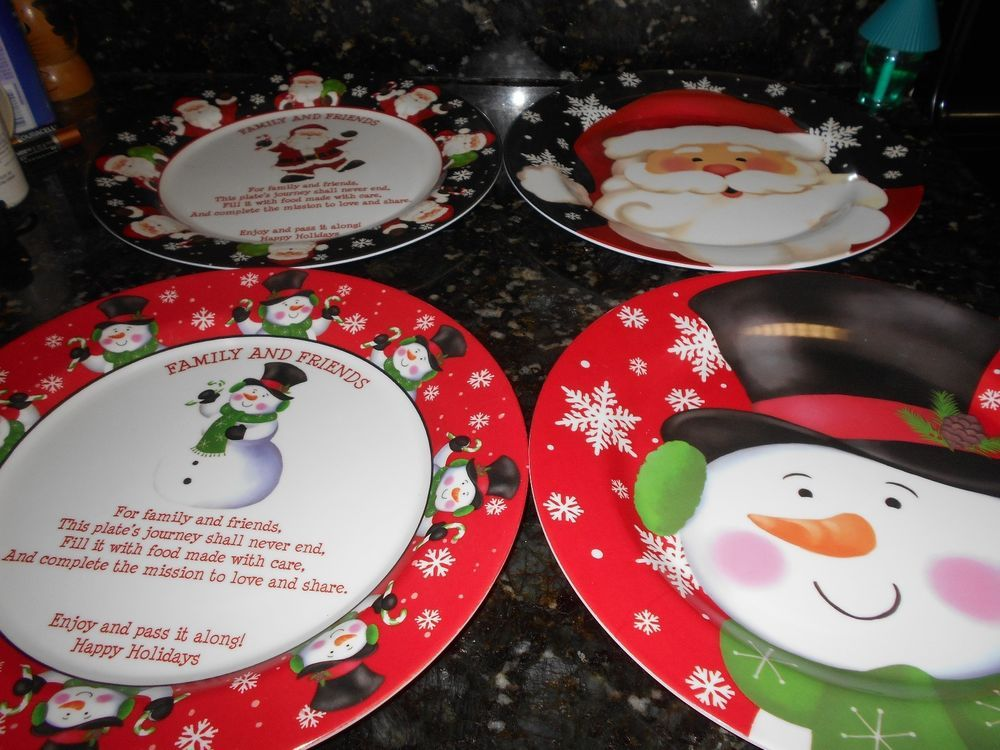 Christmas Plastic Plates Set of 4 NWT!! - So cute! & Christmas Plastic Plates Set of 4 NWT!! - So cute!! | EBAY ...