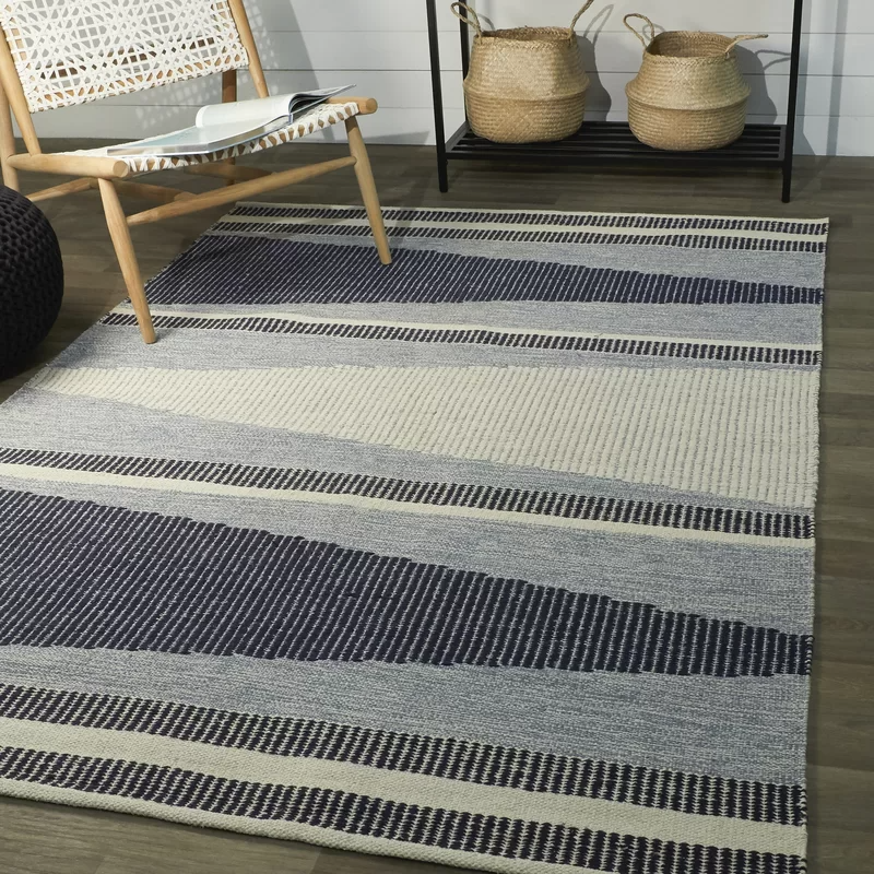 Valo Geometric Handmade Looped Cotton Navy Ivory Area Rug Allmodern In 2020 Area Rugs Rugs Contemporary Area Rugs