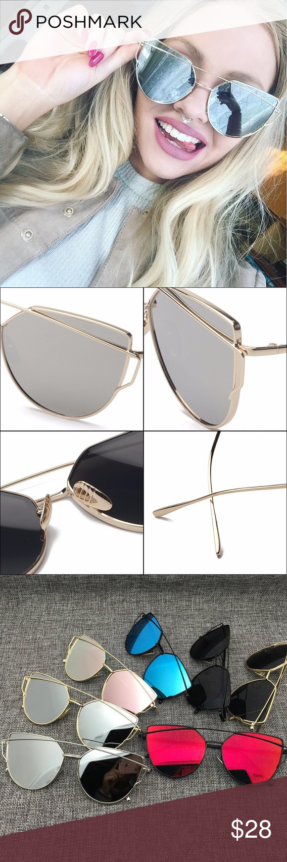 f50e695e094 Mirror Cross Wire Cat Eye Sunglasses w  Case Silver mirror lenses with  silver metal frames and nose pads. Comes with microfiber dust bag cleaning  cloth and ...