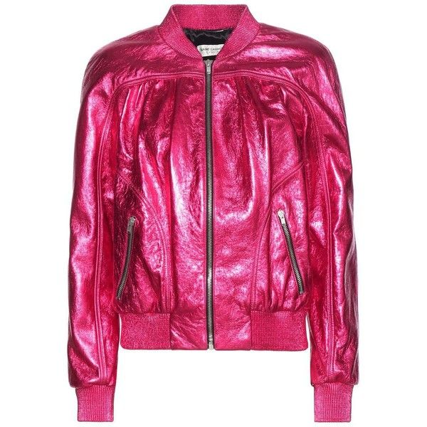 Saint Laurent Metallic Leather Bomber Jacket (€4.025) ❤ liked on Polyvore featuring outerwear, jackets, coats & jackets, pink, metallic leather jacket, blouson jacket, flight jacket, bomber style jacket and yves saint laurent jacket