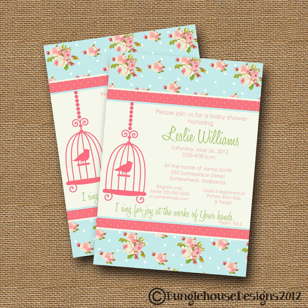 Shabby Chic Baby Shower Invitation BLUE Floral with Bird Cage Silhouette -DIY PRINTABLE- Christian Scripture Bible Verse. $12.00, via Etsy.