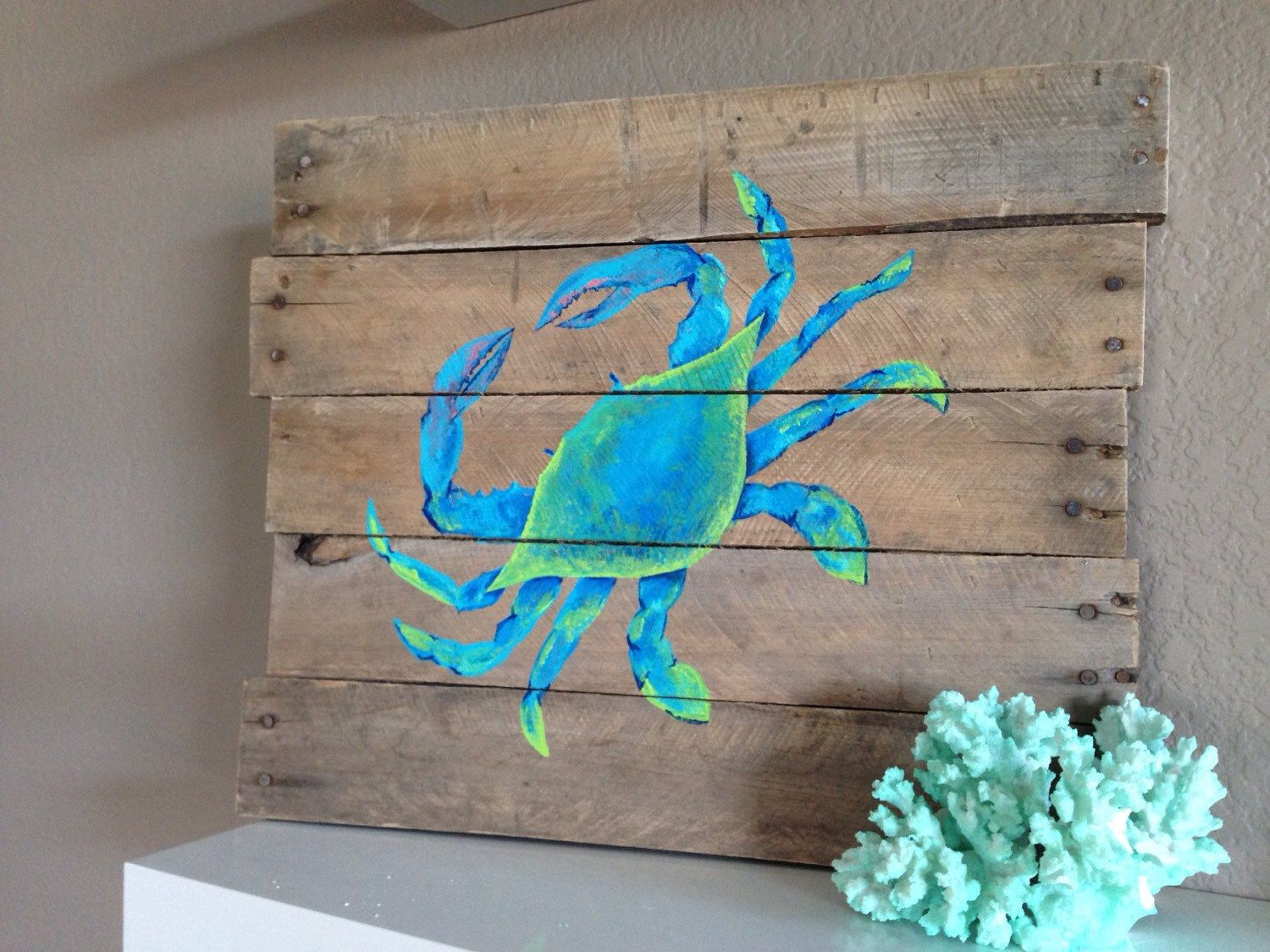 Pallet Art Blue Crabhand Painted Reclaimed Pallet Wood Beach Art By