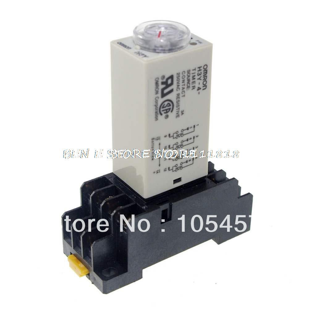 1pcs 12vdc 24vdc 24vac 110vac 220vac 12v H3y 4 Power On Time Delay Relay Timer 0 2 5min Contact Form 4pdt 14pins Socket 3a Timer Power Relay