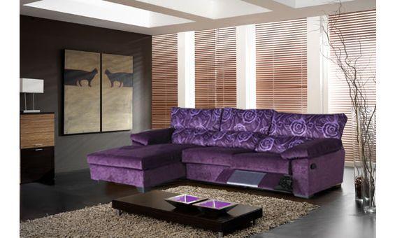 Sofá tres plazas con una plaza relax manual mas chaise longue