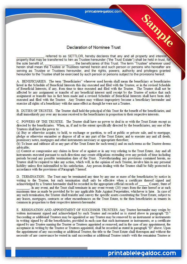 free printable declaration of nominee trust sample printable legal