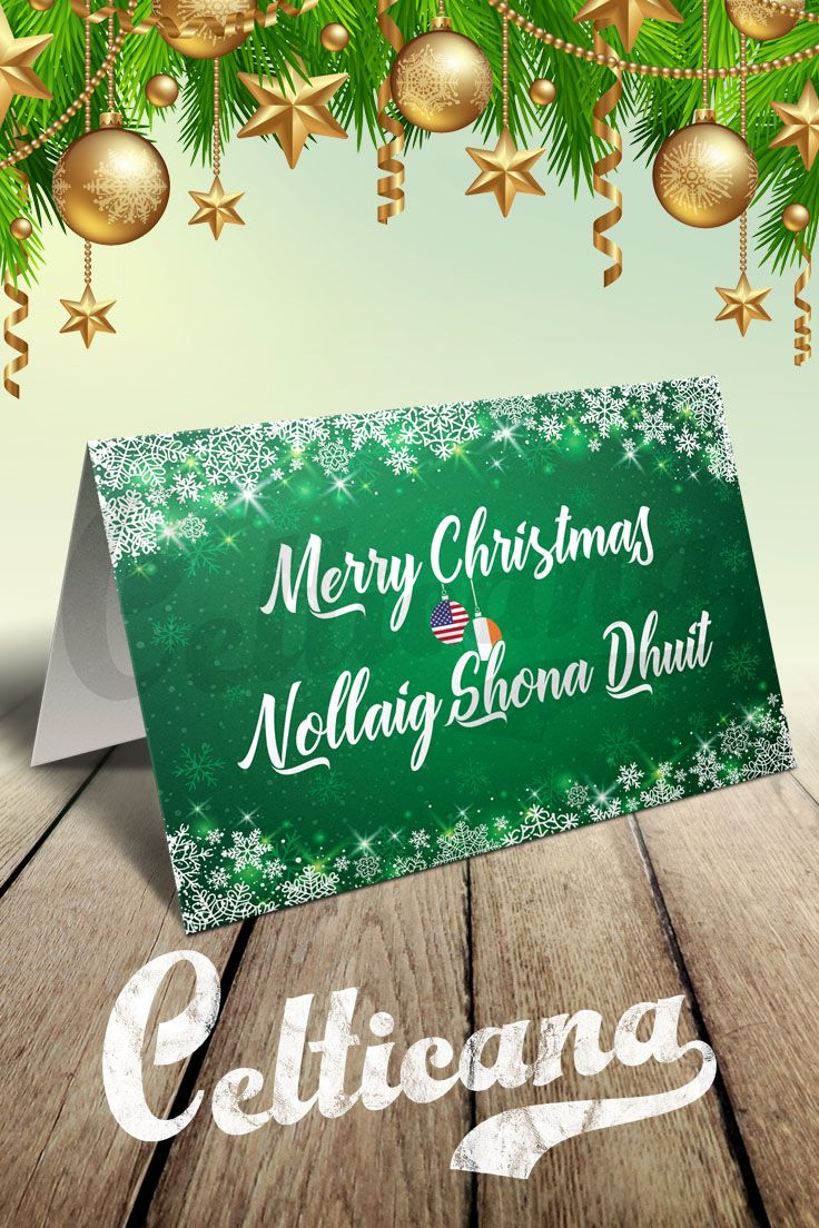 irish american bilingual holiday and christmas cards with text in english and irish gaelic - Merry Christmas In Gaelic