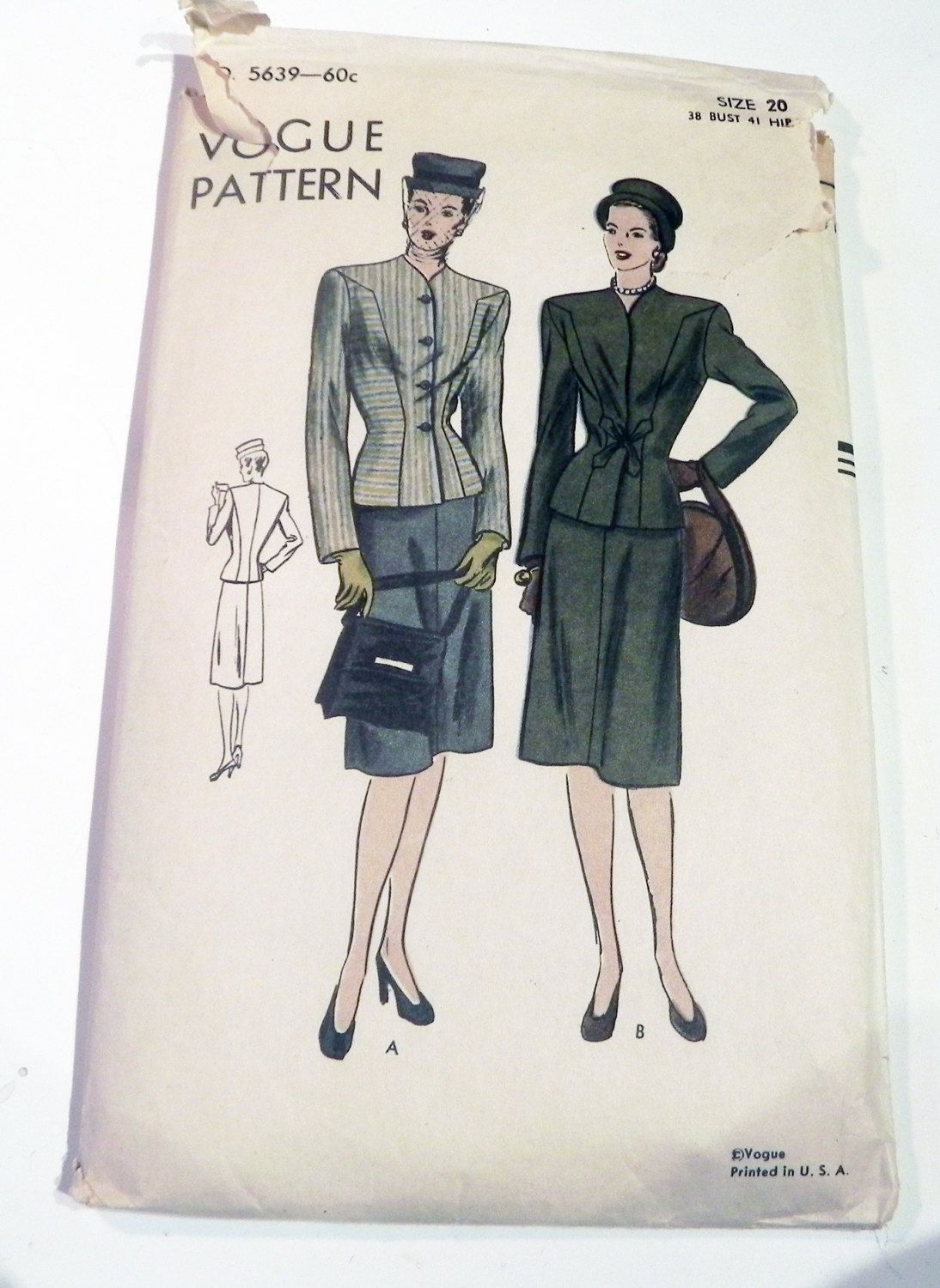 0d6e818e359 1940s Suit Jacket 4 gore flared skirt Rockabilly collarless shaped seams  sewing pattern Plus Size RARE Vogue 5639 Size 40 Bust 38
