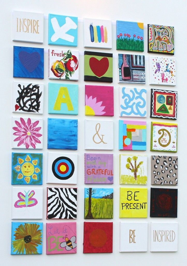 Yolander H Foster canvas wall of love - great idea for your family & friends to get involved and paint a small canvas each to add that personal touch for your home!