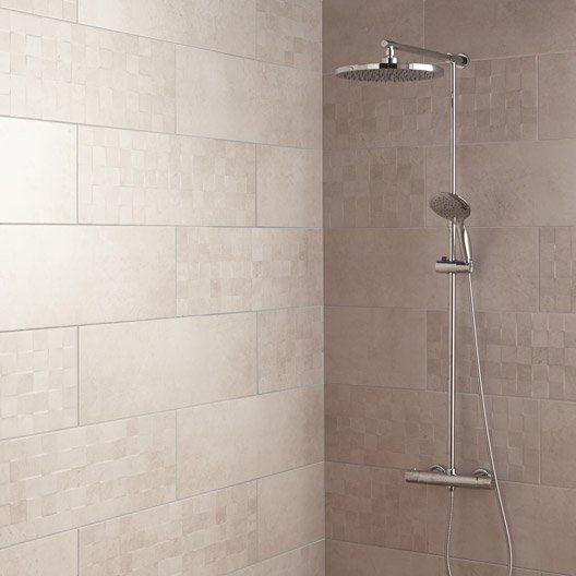 Faïence mur blanc, Vision l25 x L75 cm salle de bain Pinterest - photo faience salle de bain