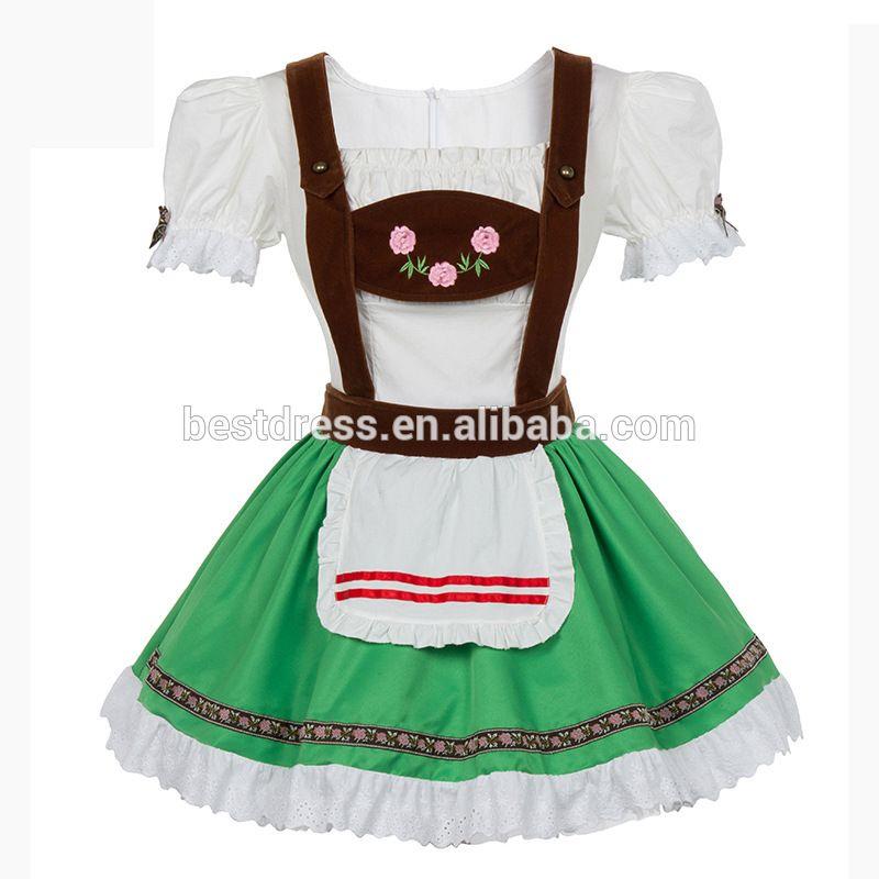 b9f6a33c6da Women Oktoberfest Beer Costume Maid Wench Germany Bavarian Green ...
