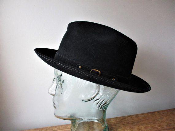 95ce24231825c Stetson Trilby Hat Vintage 1960s Fedora Black Buckle Band Slim Brim Wool  Felt