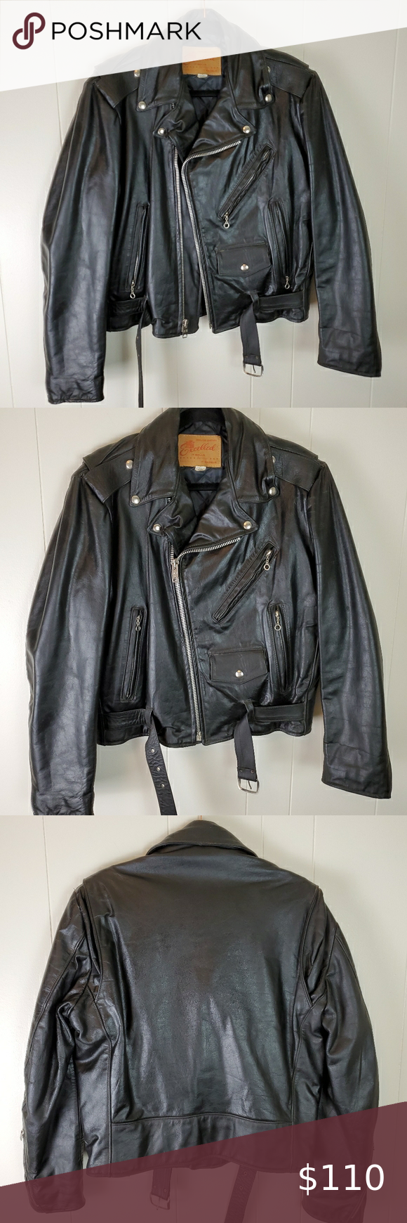 Vintage Excelled Genuine Leather 38r Motorcycle Ja Leather Clothes Design Genuine Leather [ 1740 x 580 Pixel ]