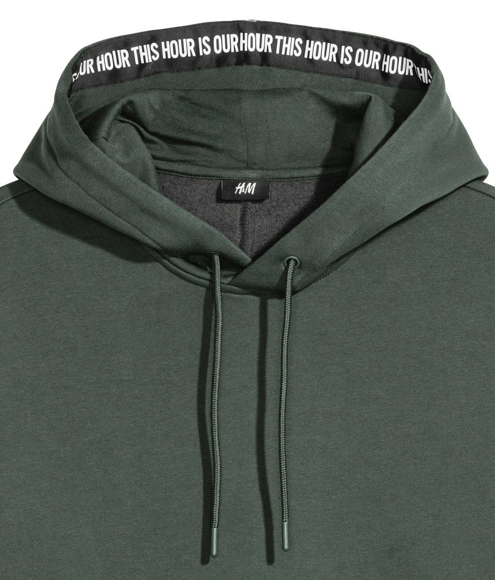 Drop shoulder Hooded Shirt | Dark green | Men | H&M US in
