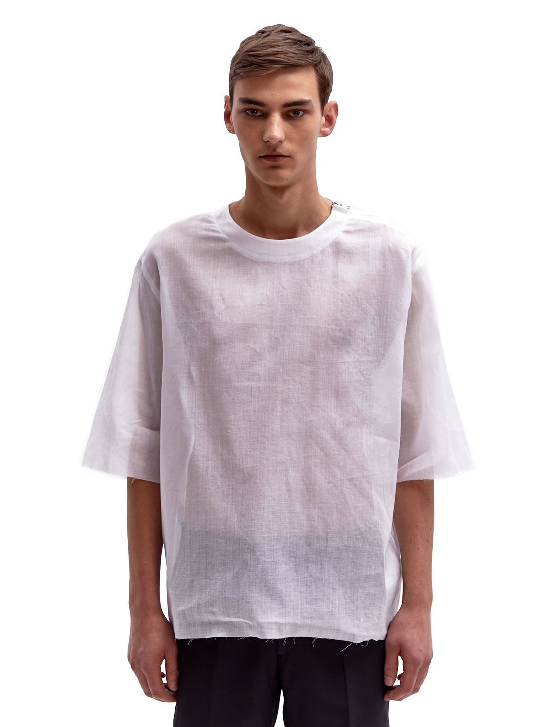 Yang Li Men s Oversized Raw Edge Sheer Cotton T-Shirt  7f7d6b744b03