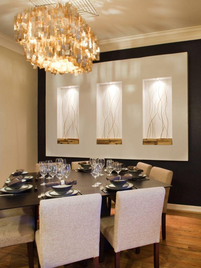 wandgestaltung esszimmer schöner leuchter schicke esszimmerstühle ... - Wandgestaltung Esszimmer