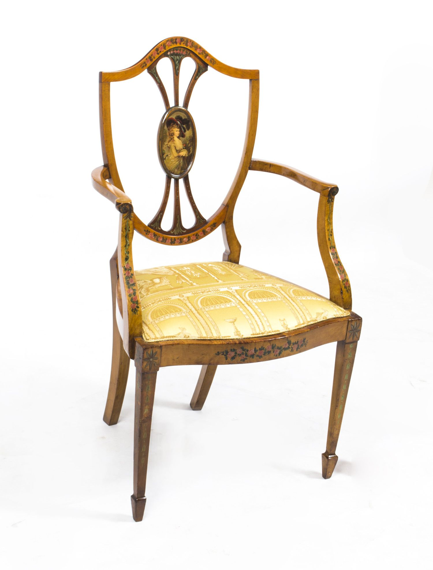 A beautiful antique Sheraton revival satinwood armchair circa 1900. - A Beautiful Antique Sheraton Revival Satinwood Armchair Circa 1900