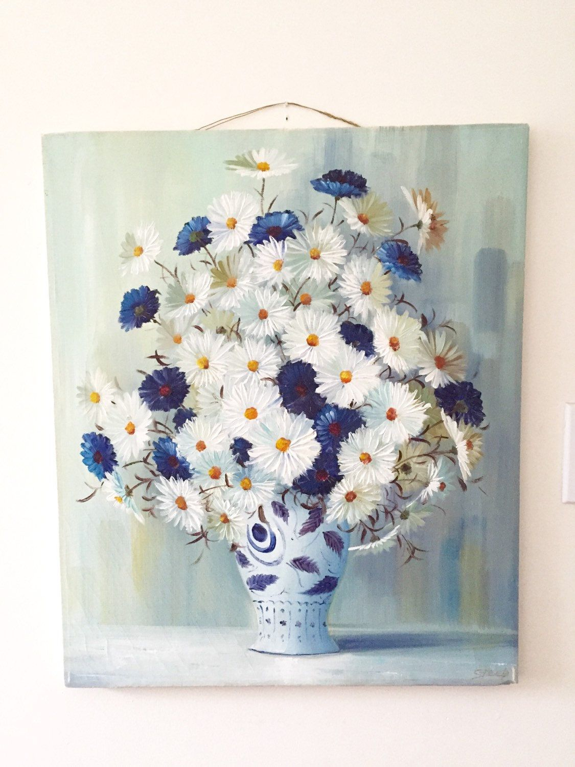 Original Floral Painting Vintage Canvas Old Oil Painting Signed Art Work blue and white vase Daisies cottage chic by StudioVintage on Etsy