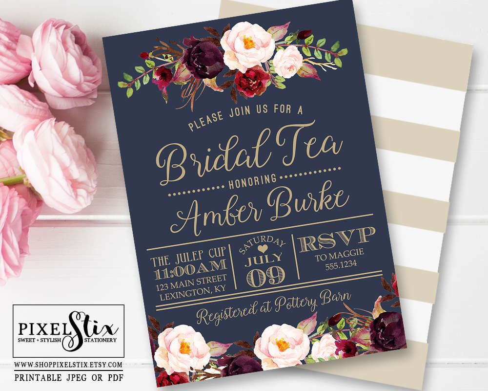 Navy Blue Bridal Tea Invitation Vintage Rose and Peony Bridal