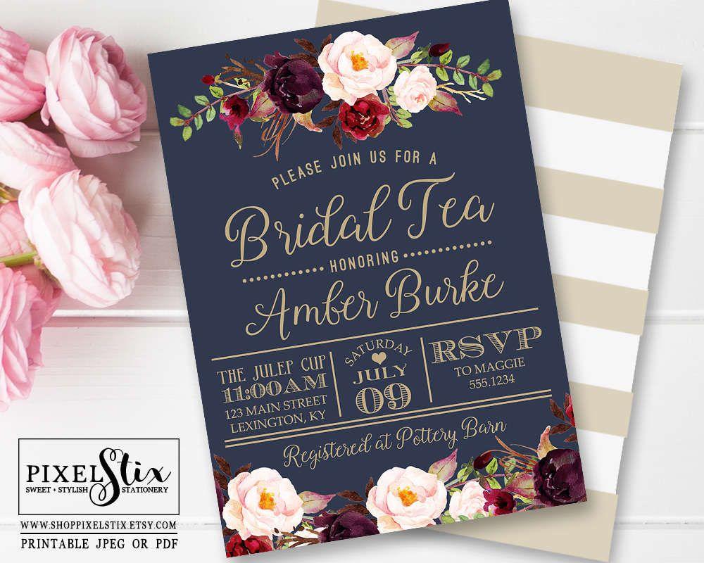 Navy Blue Bridal Tea Invitation Vintage Rose And Peony Bridal