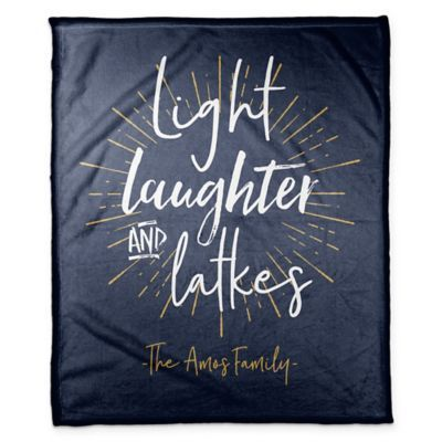 Designs Direct Hanukkah Light Laughter and Latkes Throw Blanket in Blue Designs Direct Hanukkah light Laughter And Latkes Throw Blanket In Blue