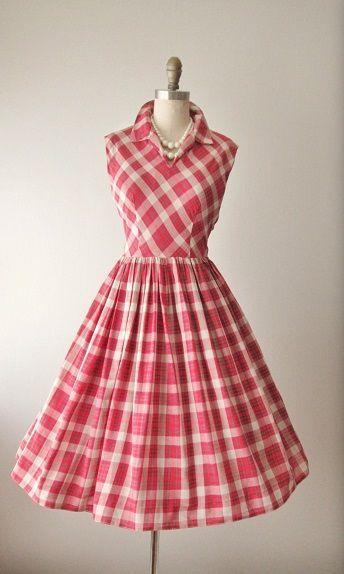 f512c10c6d763 50's Plaid Dress // Vintage 1950's Plaid Cotton Full Garden Party ...