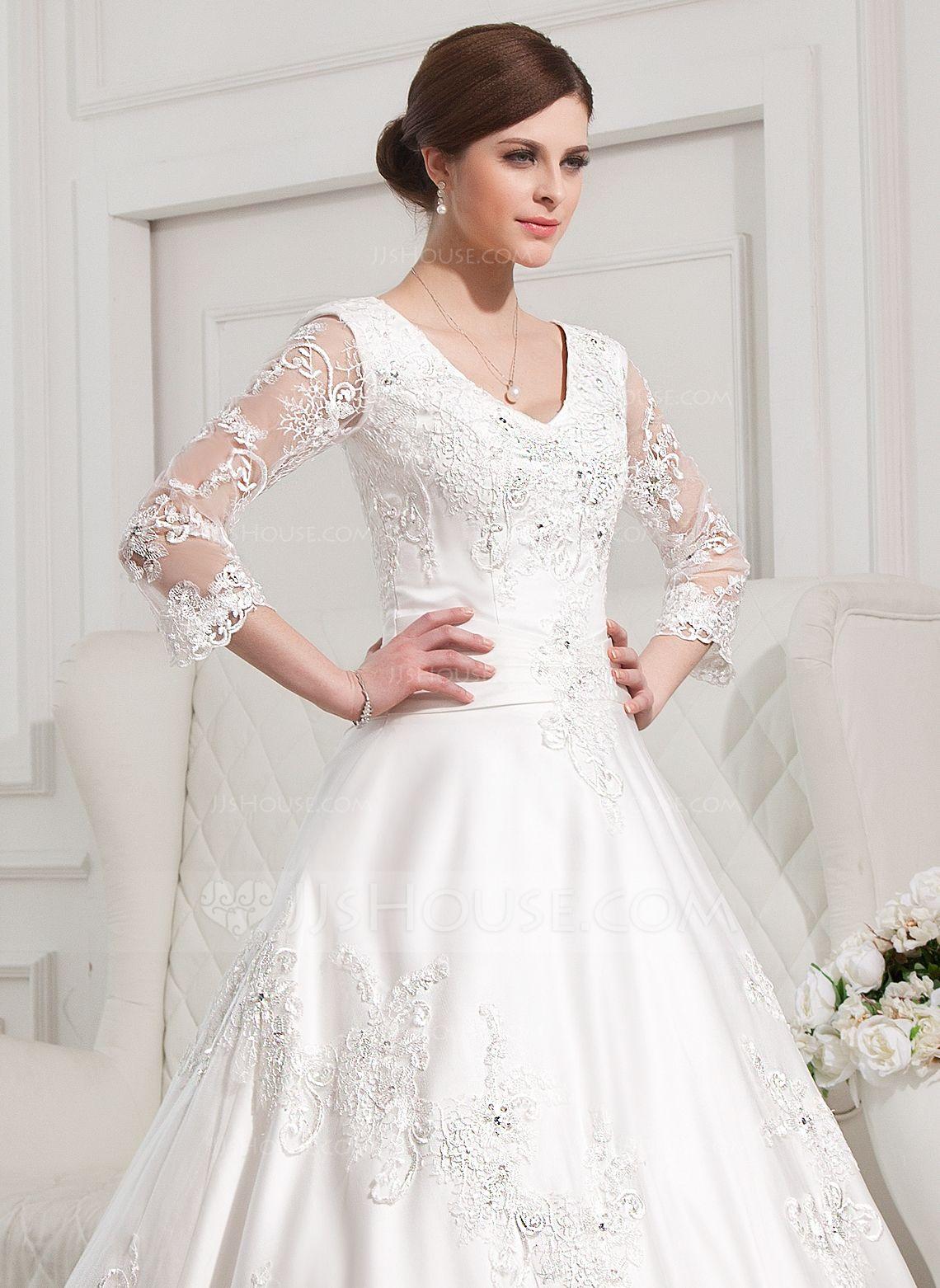 JJsHouse BallGown Vneck Chapel Train Satin Wedding Dress